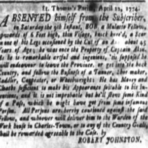 Bob - SHOE17, CAR46, WHEW4, TAN8 - SC Gazette - April 18 1774.png