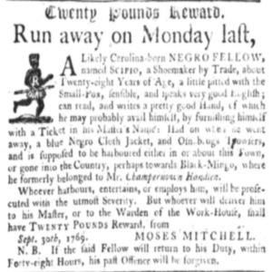 Scipio - SHOE15 - SC Gazette - October 1769.png