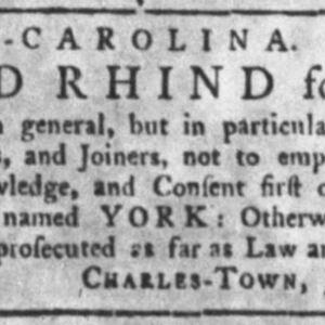 York - CAB7, CAR95, JOI1 - SC Gazette Aug 13, 1772 p6.JPG